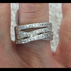 New CZ Sterling Silver 925 Wedding Ring Size 8